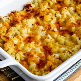 Easy Cheesy Baked Keto Cauliflower found on KalynsKitchen.com