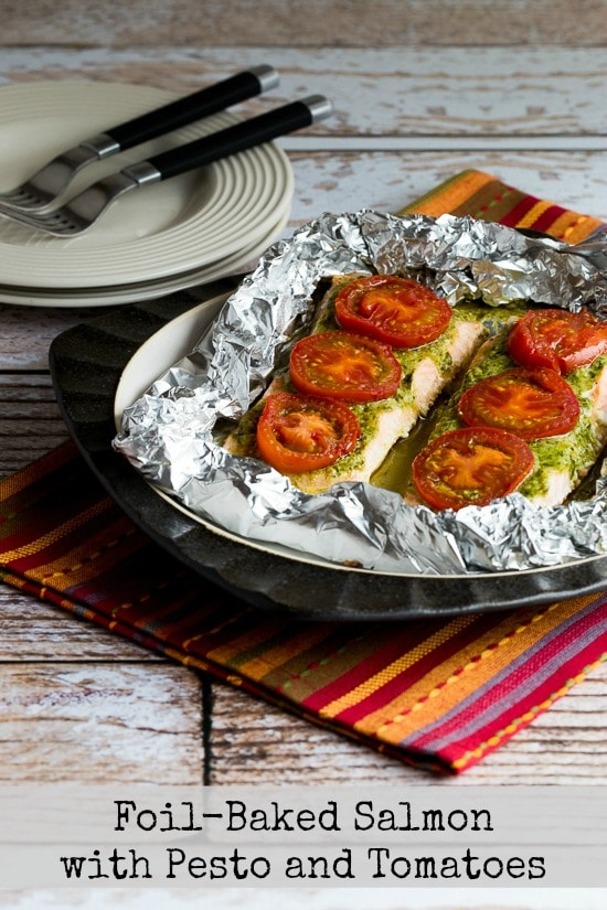 Foil Baked Salmon with Pesto and Tomatoes
