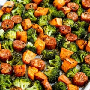close-up photo for Roasted Sweet Potatoes, Sausage, and Broccoli Sheet Pan Meal