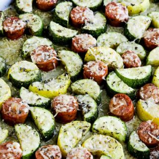 Close-up photo for Cheesy Low-Carb Zucchini and Sausage Sheet Pan Meal