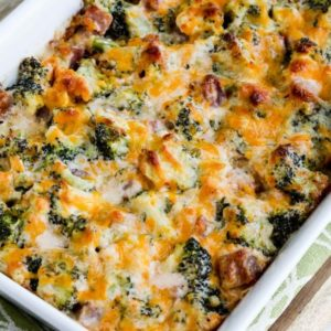 close-up photo for Low-Carb Ham and Broccoli Casserole au Gratin