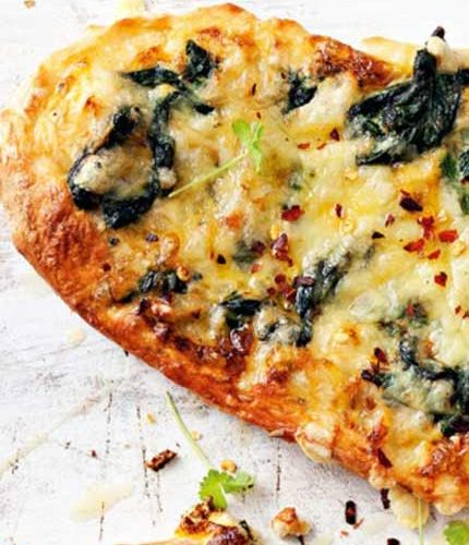 Spinach-&-cheese-pizza