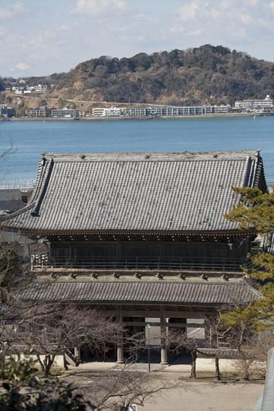 光明寺裏山から山門を望みます。海を背景にそびえる山門はとても優雅。海景色、潮風とともに御仏を参拝できるのは、鎌倉の大きな魅力です。