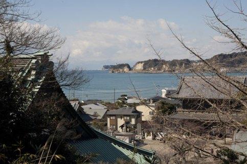 裏山からは江ノ島を望むこともできます。