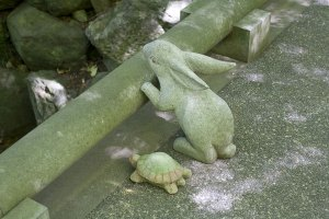 明月院。橋から川を見る兎と亀。兎は明月院のマスコット的な存在です。