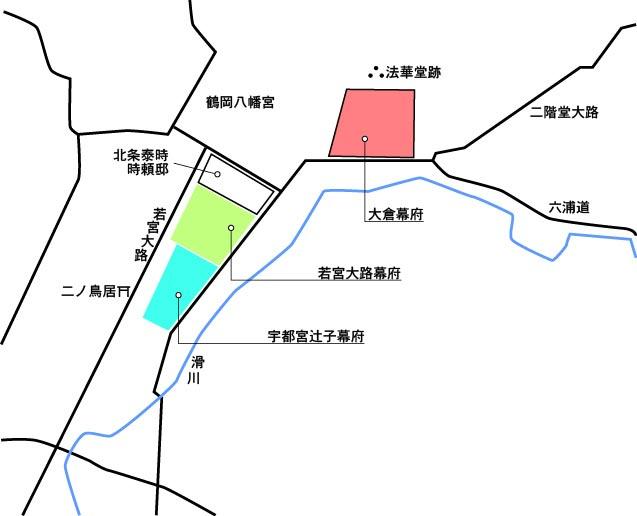 鎌倉幕府所在地図 大蔵幕府跡