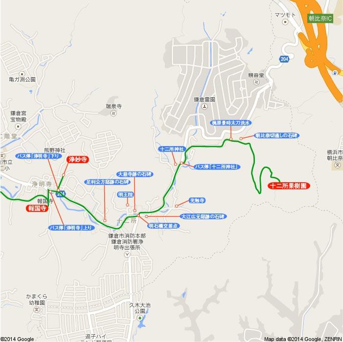 地図4 浄妙寺〜十二所果樹園
