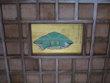 江島神社、奥津宮にある八方睨みの亀。どこからみてもまっすぐ睨まれているようにみえます。