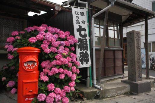 力餅家の前にあるポストは初夏、あじさいに飾られます。