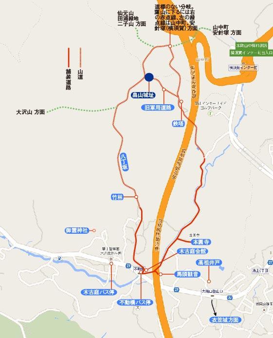 畠山城址の地図