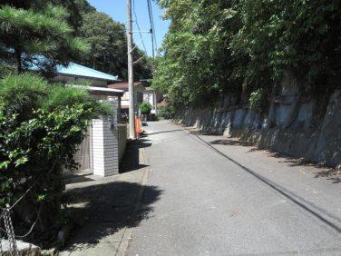 法勝寺手前を左に曲がると、結構広い道です。