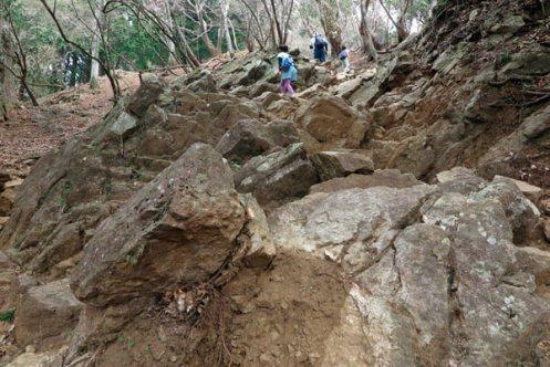 大山阿夫利神社本社への巡礼登山道。こちらのルートは結構急です。岩もごろごろしています。【大山阿夫利神社】