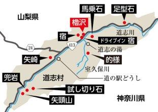 櫓沢と道志村の源頼朝関連史跡。