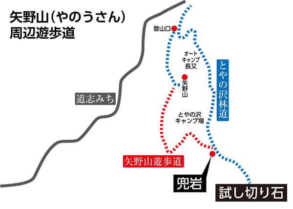兜岩、試し切り石へと至る、矢野山周辺の遊歩道ととやの沢林道。