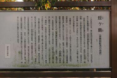 源頼朝公配流の地、伊豆蛭ヶ小島にある蛭ヶ島公園。案内板。本文に全文を引用してあります。