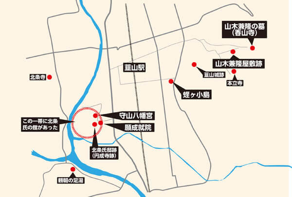 蛭ヶ小島周辺の主な関連史跡。他にもあると思いますので、取材でき次第追加予定です。