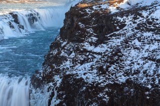 Waterfall Gullfoss in winter. Arnessysla. Iceland.