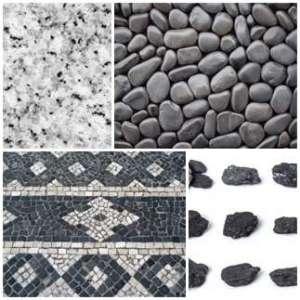 Черни и бели камъни и мозайки
