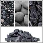 Черни овални камъни ичерни мозайки