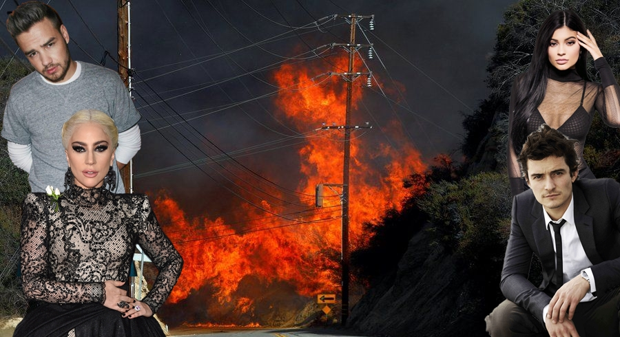 Liam Payne,Lady Gaga, Kylie Jenner a ďalší boli evakuovaní zo svojich domov
