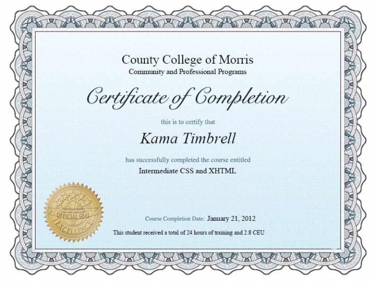 Kama Timbrell, CSS/XHTML Intermediate Class Certificate