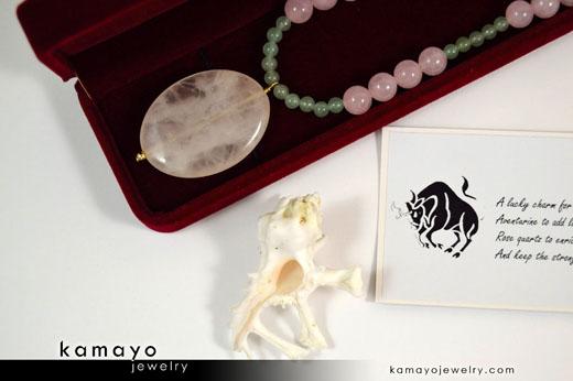 Taurus Necklace - Rose Quartz Pendant and Green Aventurine Beads