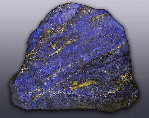 An excellent rough rock of lapis lazuli Source: Hannes Grobe via Wikimedia Commons