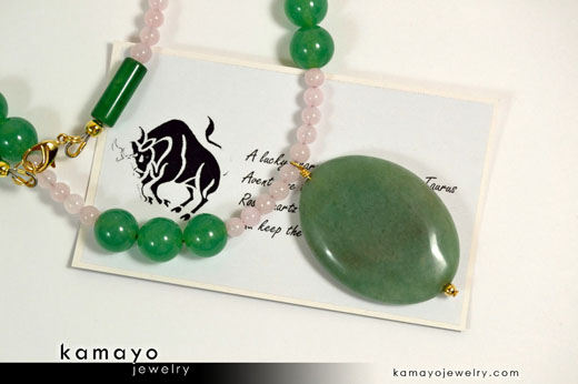 Taurus Necklace - Aventurine Pendant and Rose Quartz Beads