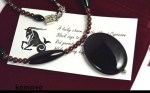 Capricorn Necklace - Black Onyx Pendant and Red Garnet Beads