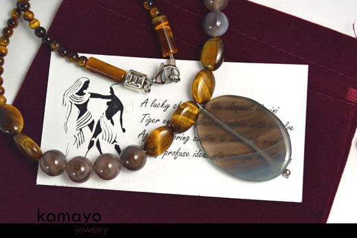 Gemini Necklace - Grey Agate Pendant and Tiger Eye Beads