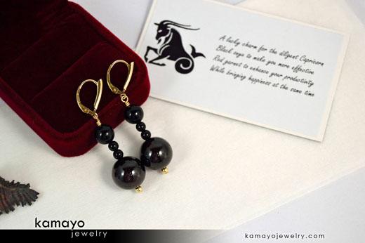 Capricorn Earrings - Dark Red Garnet Pendant and Black Onyx Beads