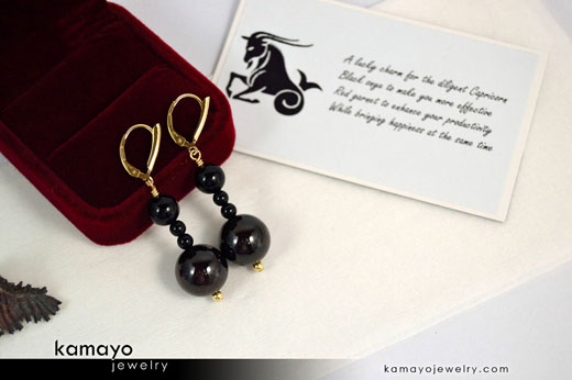 Capricorn Earrings - Dark Red Garnet Pendant and Black Onyx Beads