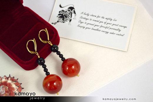 Leo Earrings - Sardonyx Pendant and Black Onyx Beads