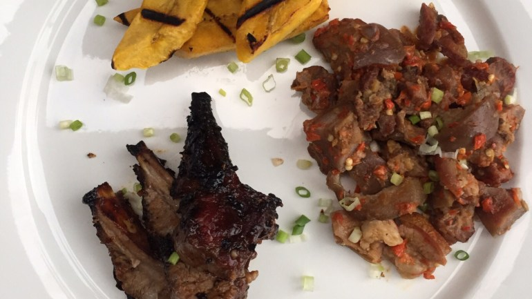 Ram Asun, Ram Barbecue And Boli (Peppered Ram Meat, Ram Barbecue And Grilled Plantain)