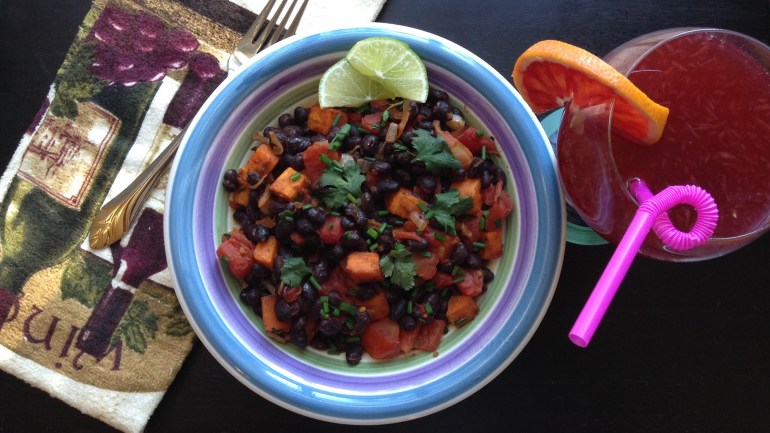 Black Bean and Sweet Potato, with an Orange-Ginger Fizz