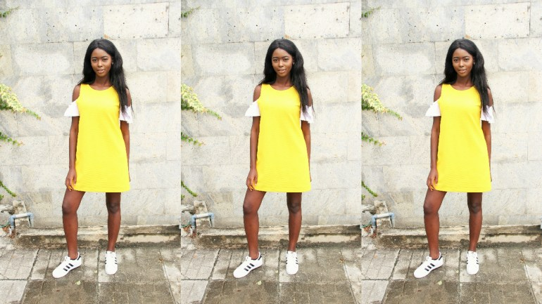 LOTD: Casual in Yellow Dress x Adidas Sneakers