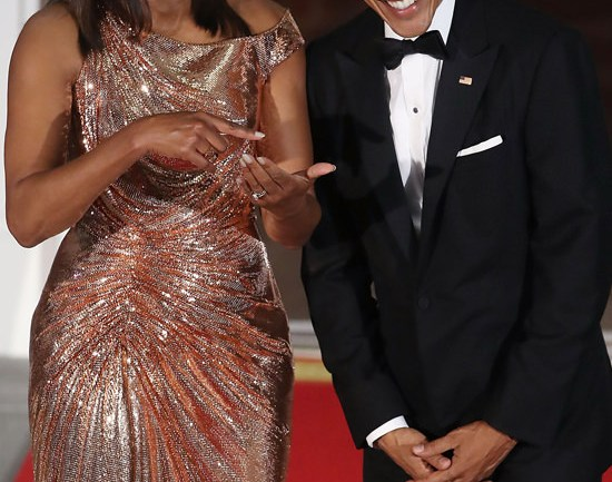 Michelle O'Bombshell! Flotus Stunns in Atelier Versace for Final State Dinner