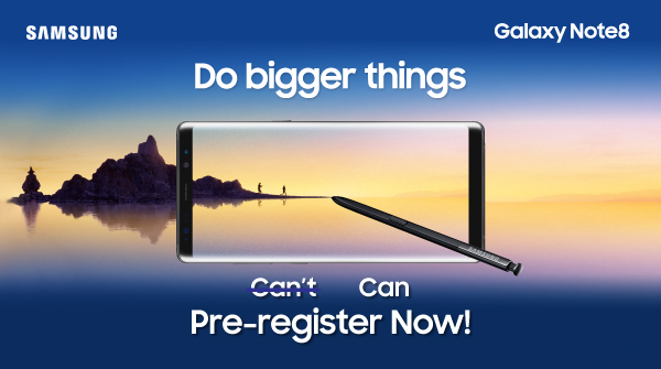 Good News Guys!!! Pre-Register for your Samsung Galaxy Note 8 & Get Free Fast Charge Battery Pack & Back Cover!