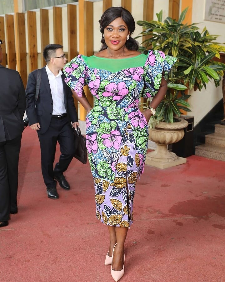 LOTD: Mercy Johnson In Sierra Leone In A Structured Curvy Ankara Dress By Jane Michael Ekanem!