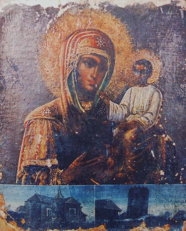 Копия чудотворной иконы Божьей Матери Каменецкая до реставрации