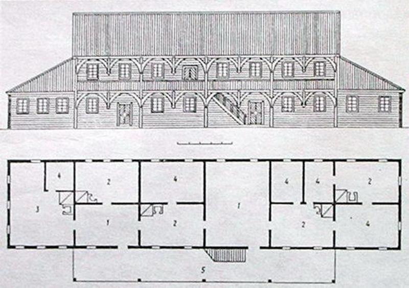 Реконструкция главного фасада замка и план первого этажа, 1635 год