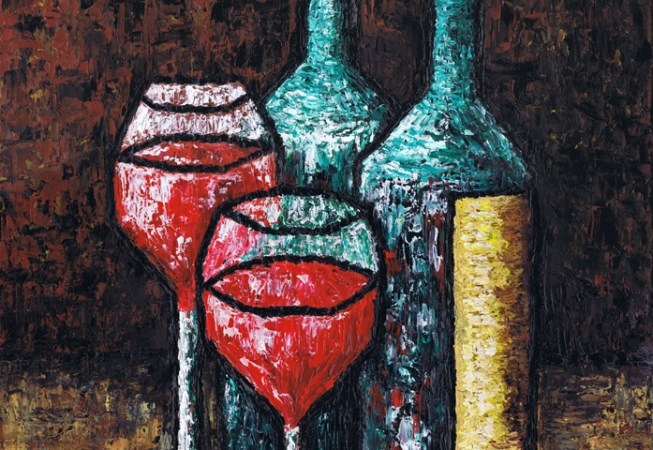 """Still Life With Wine"", Oil on Canvas, 14"" x 18"" © Kamil Swiatek, www.kamilswiatek.com"