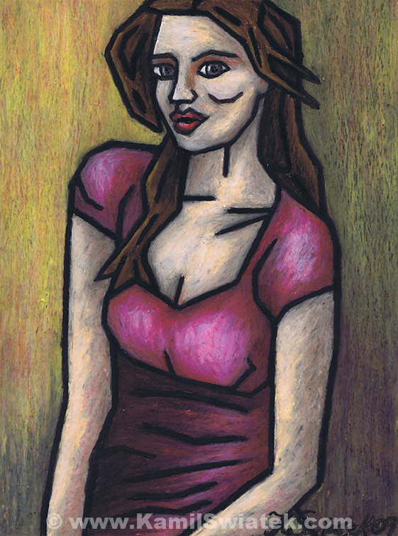 """""""I Miss You"""", Oil Pastel on Paper, 9"""" x 12"""""""