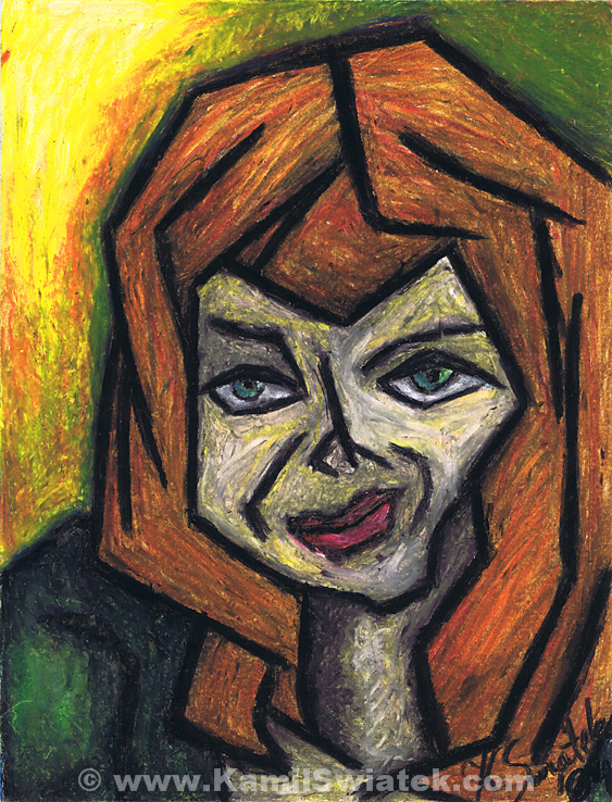 """The Look"", Oil Pastel on Paper, 10.58"" x 13.78"""