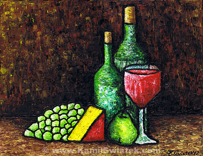 """Still Life With Wine and Cheese"" (2012), Oil on Canvas, 14"" x 18"""