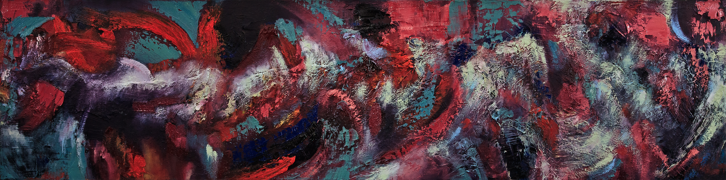 "Crashing Winter (2016-2018), Oil and Mixed Media on Canvas, 12"" x 48"""