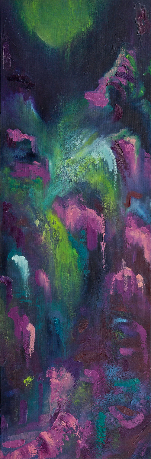 """Floating Stream II (2017-2018), Oil and Mixed Media on Canvas, 12"""" x 48"""""""
