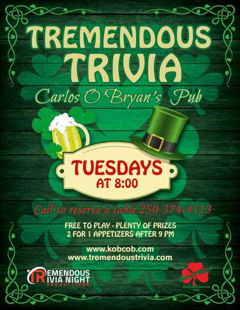 Tremendous Trivia Tuesdays at Carlos O'Bryan's