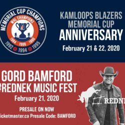 KAMLOOPS BLAZERS w/ GORD BAMFORD TO CELEBRATE MEMORIAL CUP ANNIVERSARY – Kamloops Blazers