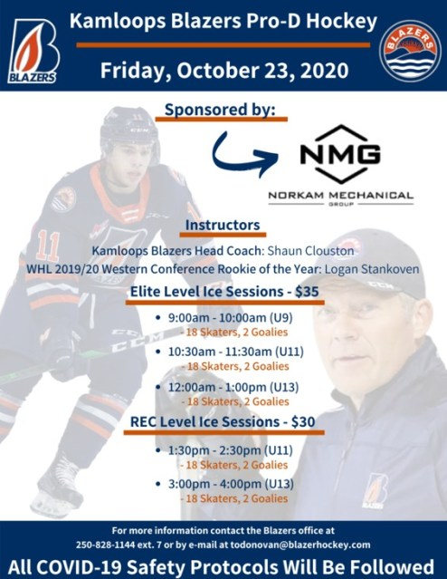 Blazers to Host a Pro D Hockey Camp on Friday, October 23rd – Kamloops Blazers